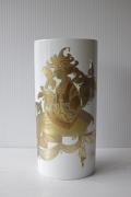北欧ヴィンテージ/Bjorn Wiinblad/オーバル花瓶/白磁×金彩
