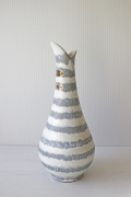 ドイツヴィンテージ/花瓶/ホワイト×グレーのストライプ