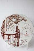 北欧ヴィンテージ/Bjorn Wiinblad(ヴョルン・ウィンブラッド)/飾り皿/朝/ブラウン