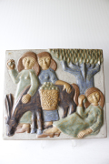 北欧ヴィンテージ/Michael Andersen & Son社/陶板の壁掛け/ロバと少女たち