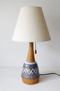北欧照明/ヴィンテージテーブルランプ/異素材組合せ/チーク×陶器
