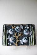 北欧ヴィンテージ/Norrmans Keramik社/陶板の壁掛け/水槽のお魚