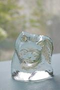 北欧ヴィンテージ/ガラスのオブジェ/丸くなってるネコちゃん