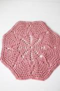 北欧ヴィンテージ/手編みのドイリー/ピンク