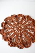 北欧ヴィンテージ/手編みのドイリー/ブラウン