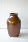 北欧ヴィンテージ/花瓶/カカオカラー/幾何学模様