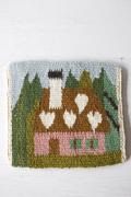 北欧織物/フレミッシュ織/つづれ織り/ピンクのお家