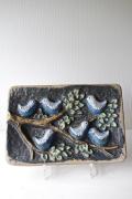 北欧ヴィンテージ/Norrmans Kerami社/陶板の壁掛け/小鳥の戯れ
