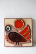 北欧ヴィンテージ/SOHOLM(スーホルム)/陶板の壁掛け/小鳥と赤い実