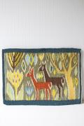 北欧織物/フレミッシュ織/つづれ織り/森に佇む鹿