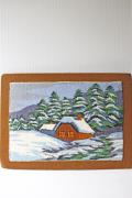 北欧織物/フレミッシュ織/つづれ織り/森の雪景色と家