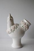 北欧ヴィンテージ/Rosa Ljung/花瓶/ニワトリとお花/ピンク×ホワイト