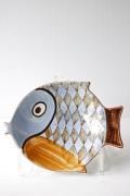 北欧ヴィンテージ/Knabstrup社/魚型プレート/ブルー