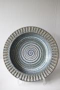 北欧ヴィンテージ/Soholm/丸大皿/渦巻き模様/ペールブルー