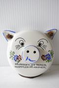 北欧ヴィンテージ/Aksini社/陶器の壁掛け貯金箱/ブタさん