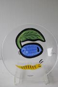 北欧ヴィンテージ/KOSTA BODA/ペイントガラスの絵皿/黄色い芋虫君