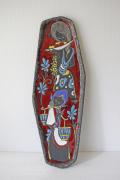 イタリアンヴィンテージ/TITANO/陶板の壁掛け/働き者の娘さん