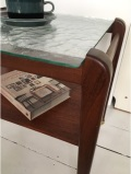 【送料無料】北欧ヴィンテージ家具/チーク素材/サイドテーブル/コマ付き&ガラストップ