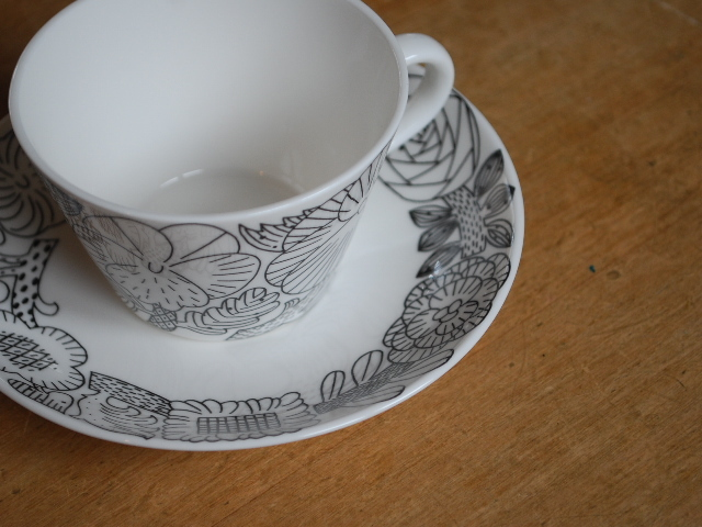 "鹿児島 睦 GUSTAVSBERGのコラボ ""April ""coffee Cup & saucer BK&WH"