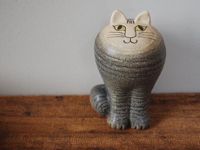 【北欧】【Lisa Larson (リサラーソン)】 大人気の陶器のオブジェ★  Lisa Larson  CAT MAYA GRAY リサラーソン キャットマヤ グレー