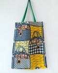 アフリカンプリント2faceバッグ 鞄柄イエロー