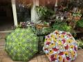 アフリカンプリントの晴雨兼用傘 縁取り付