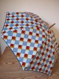 アフリカンプリントの晴雨兼用傘 縁取り付き アフリカン市松模様
