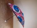 アフリカンプリントの晴雨兼用傘 折りたたみ式 柄B ハンドル・クリアボール