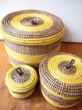 セネガルの村人がつくったラウンド型収納かご LMSサイズ3個セット