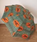アフリカンプリントの晴雨兼用傘 ツバメ ブルー×オレンジ B