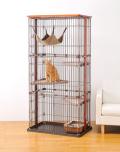 【猫用】【室内】【サークル】【ボンビ】ウッドワンサークル キャット 3段タイプ