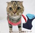 【メール便送料無料】【新商品】猫用スーパー胴輪&リードバンダナドット3号【ハーネス】