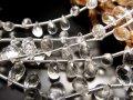◆宝石質アクセサリーパーツ◆ティアドロップカット◆水晶◆ワイヤー用【穴径約0.3mm】◆縦約6.5-8mm×横約4-5.5mm◆【ブラジル産】