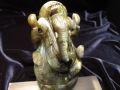 ★人気!夢を叶える象★極上手彫り彫刻★ネガティブパワーの排除★あらゆる障害を除去して成功に導く守り神★1点物★ラブラドライトガネーシャ彫り置物★367g★高さ約9.8cm★