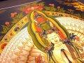 ◆貴重な本物・曼荼羅(マンダラ)◆手書きの精密画◆1点物◆チベット仏教 悟りの図像・仏教美術◆100%木綿(コットン)台紙◆曼荼羅(曼陀羅)図像◆僧侶肉筆タンカ・ポーバー(Thangka) 千手千眼観音仏画◆サイズ約53×68cm◆