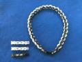 【ファイテン】ラクワネックX50 四つ編み ブラック2本×ホワイト2本 サイズ:約50cm アジャスター(約6cm)×3個付き