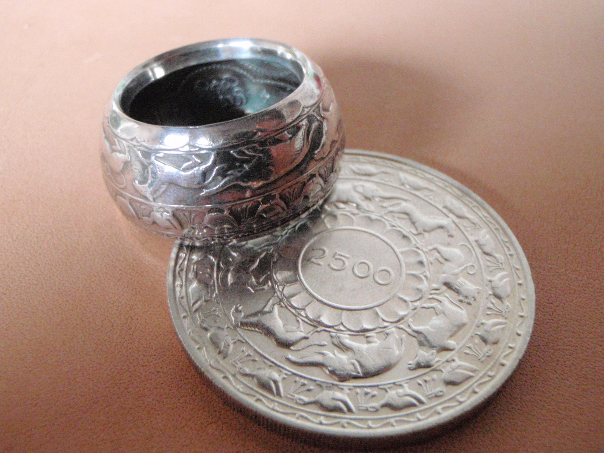 セイロン5ルピー銀貨リング