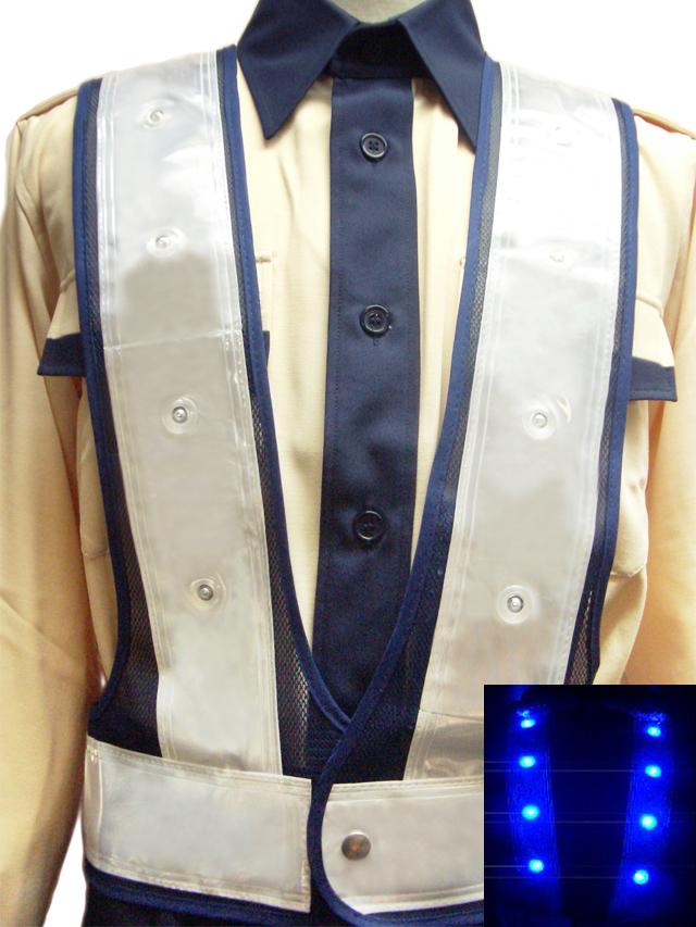 青色LEDベスト(紺メッシュ×白テープ)