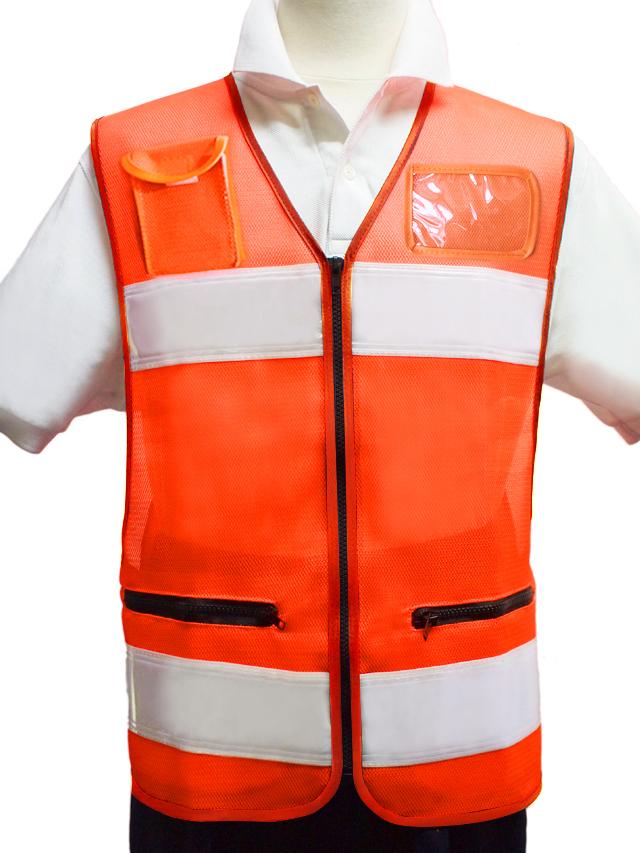 スマホ/携帯ポケット付き防犯パトロールベスト(橙メッシュ×白テープ)