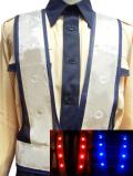 赤青2色切替型LEDベスト(紺メッシュ×白テープ)