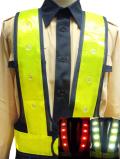 赤白2色切替型LEDベスト(紺メッシュ×黄テープ)