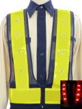 新型ファスナー式LEDベスト(黄テープ/メッシュ・LED色選択可)