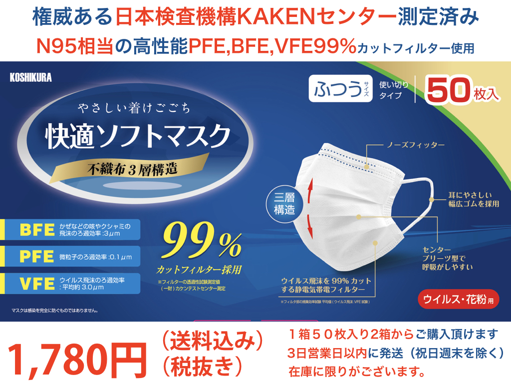 N95相当の高性能フィルター仕様の高品質マスク1,780円(送料込み)1箱50枚入り(2箱からのご購入)即出荷