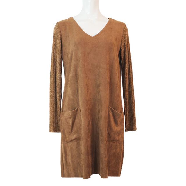 【ARIANNE】【アリアンヌ】8218 フェイクスエード ドレス キャメル