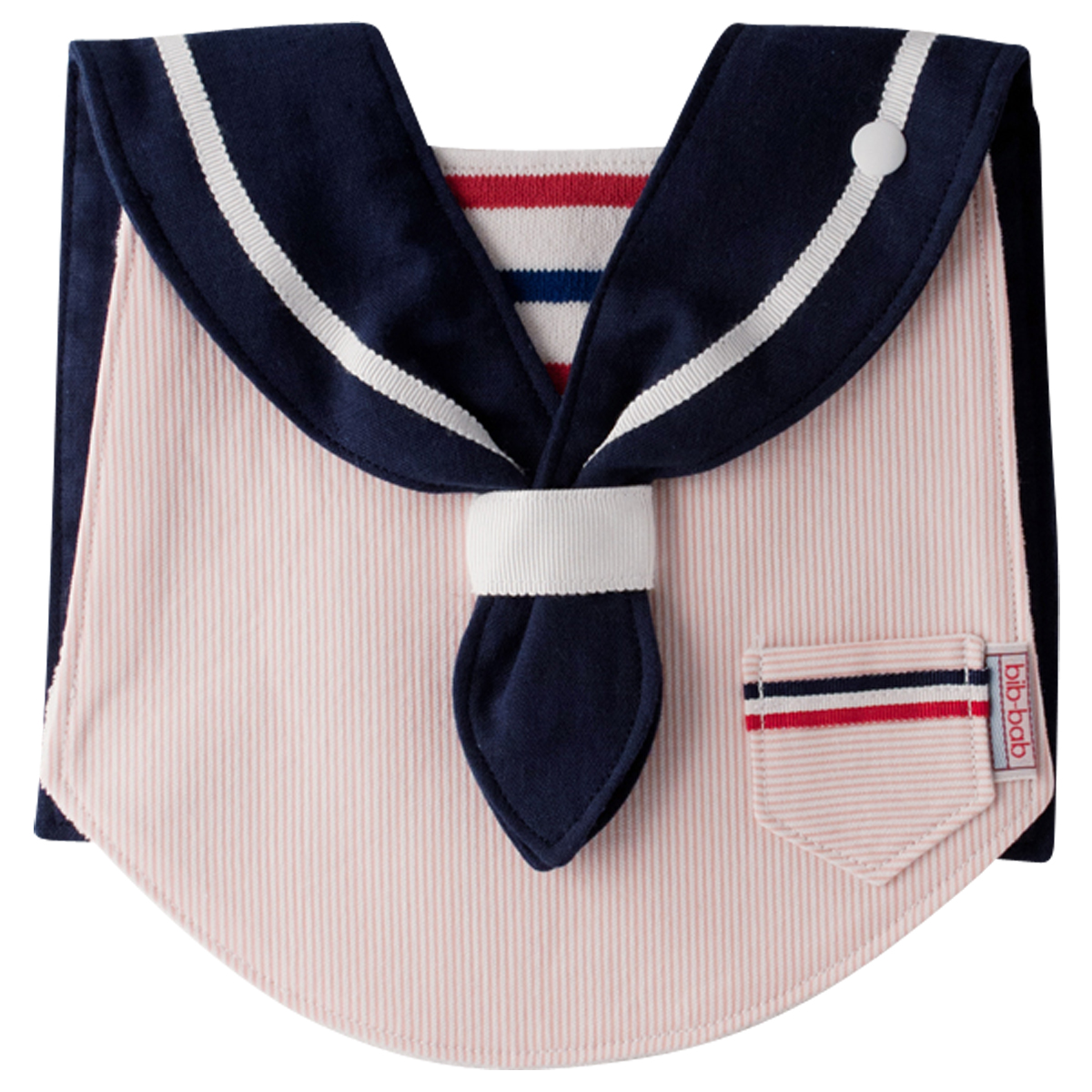後ろ姿まで愛らしいよそいきスタイ☆bib-bab マリンタイプ(ピンク:紺襟)☆