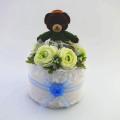 世界に1つだけのプレミアムな出産祝い☆くまのチョコくんのおむつケーキSサイズ☆