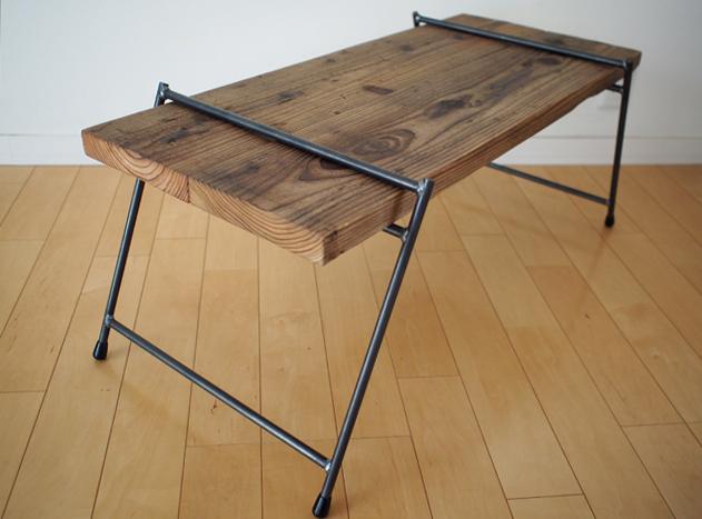 足場板とアイアンの組み立てテーブル|LOWダブル|同梱不可商品