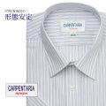 半袖ワイシャツ[CARPENTARIA] レギュラーカラー ライトグレー×ブラック×グレーストライプ 形態安定 標準型 DHPC23-03