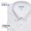 半袖ワイシャツ[CARPENTARIA] ボタンダウン ホワイトドビーストライプ 形態安定 標準型 DHPC24-01