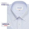 半袖ワイシャツ[CARPENTARIA] ボタンダウン ホワイト×ネイビー×ブルーストライプ 形態安定 標準型 DHPC24-03